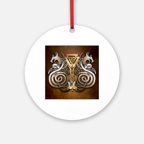 Norse Valknut Dragons Round Ornament