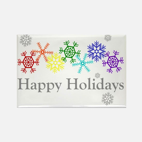 Rainbow Snowflakes Rectangle Magnet