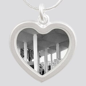 Guam Airport 1960s Silver Heart Necklace
