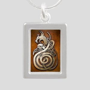 Norse Dragon Silver Portrait Necklace