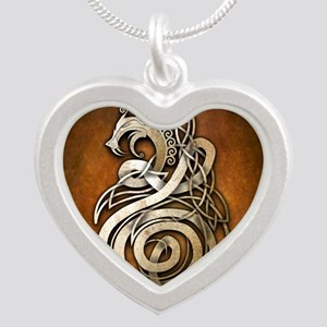 Norse Dragon Silver Heart Necklace