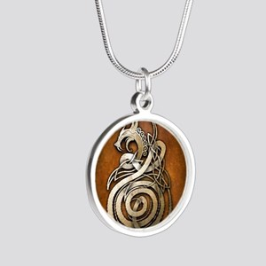 Norse Dragon Silver Round Necklace