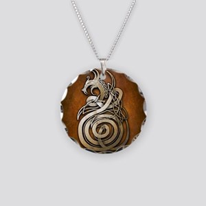Norse Dragon Necklace Circle Charm