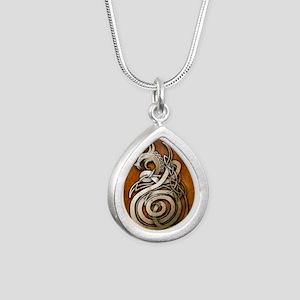 Norse Dragon Silver Teardrop Necklace