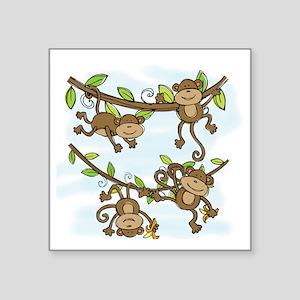 "Monkey Shine Square Sticker 3"" x 3"""