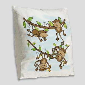 Monkey Shine Burlap Throw Pillow