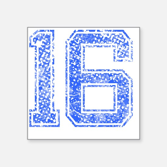 "16, Blue, Vintage Square Sticker 3"" x 3"""