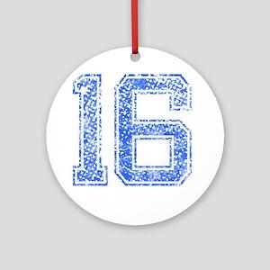 16, Blue, Vintage Round Ornament