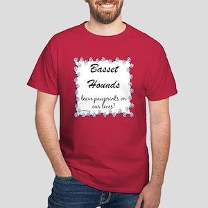 Basset Hound Pawprints Dark T-Shirt