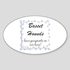 Basset Hound Pawprints Oval Sticker