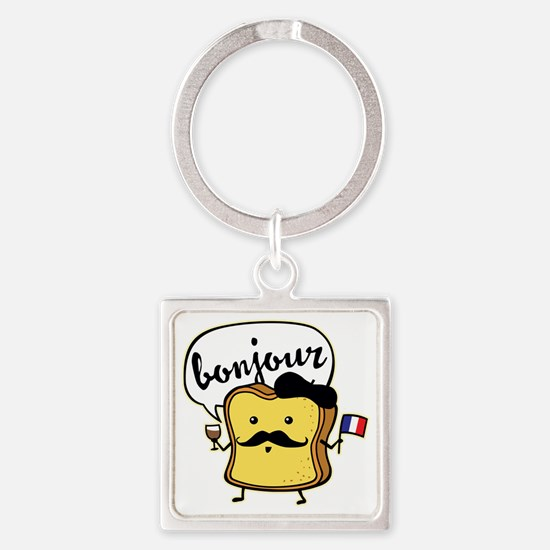 French Toast Square Keychain