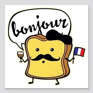 """French Toast Square Car Magnet 3"""" x 3"""""""