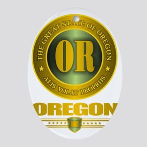 Oregon Gold Label Oval Ornament