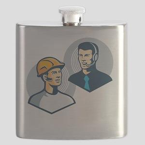 Construction Worker Telemarketer Retro Flask
