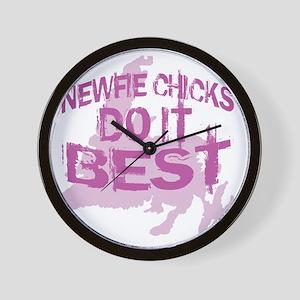 Newfie Chicks Do It Best Wall Clock