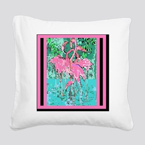 Retro Style Abstract Flock of Square Canvas Pillow