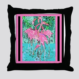 Retro Style Abstract Flock of Pink Fl Throw Pillow
