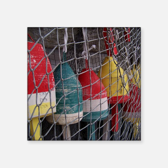 """Netted Lobster Buoys Square Sticker 3"""" x 3"""""""