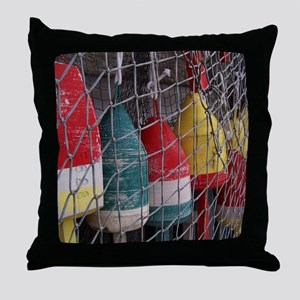 Netted Lobster Buoys Throw Pillow