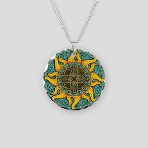 Mosaic Sun Necklace Circle Charm