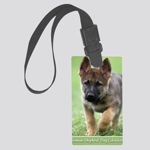 German Shepherd dog puppy Large Luggage Tag