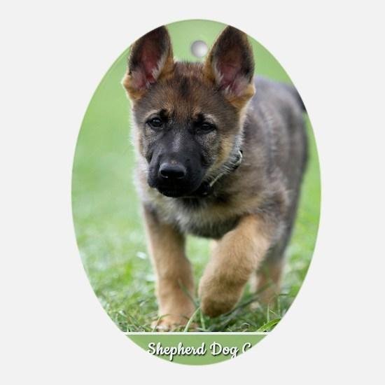 German Shepherd dog puppy Oval Ornament