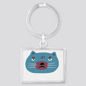 Not in the mood cat blue Landscape Keychain