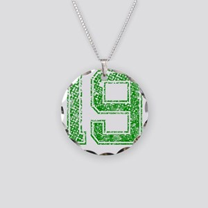 19, Green, Vintage Necklace Circle Charm