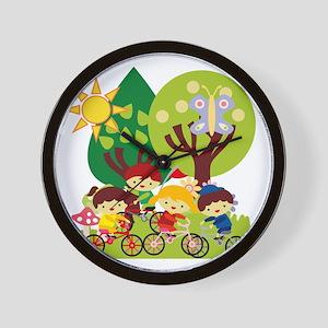 Kids on Bikes Wall Clock