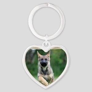 German Shepherd dog puppy Heart Keychain