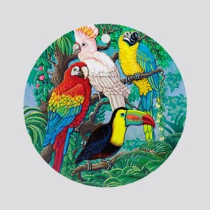 Tropical Birds 37x30 Round Ornament