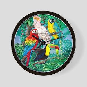 Tropical Birds 37x30 Wall Clock