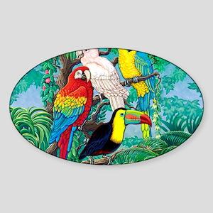 Tropical Birds 37x30 Sticker (Oval)