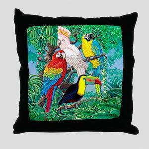 Tropical Birds 37x30 Throw Pillow