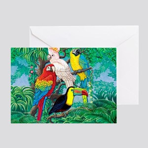 Tropical birds greeting cards cafepress tropical birds 37x30 greeting card m4hsunfo