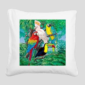 Tropical Birds 37x30 Square Canvas Pillow