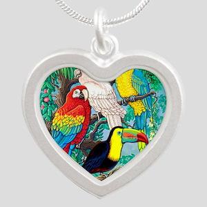 Tropical Birds 37x30 Silver Heart Necklace