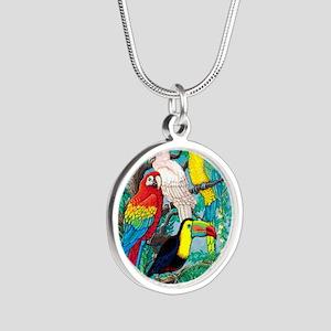 Tropical Birds 37x30 Silver Round Necklace