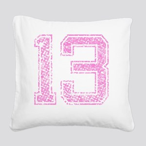 13, Pink Square Canvas Pillow