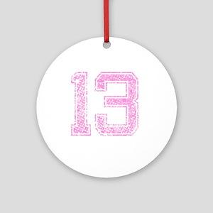 13, Pink Round Ornament