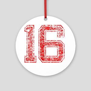 16, Red, Vintage Round Ornament