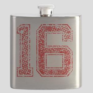 16, Red, Vintage Flask