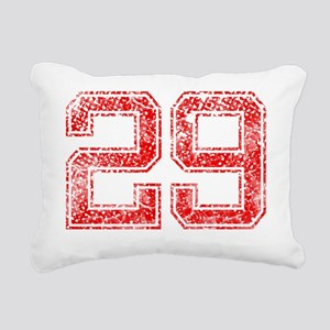 29, Red, Vintage Rectangular Canvas Pillow