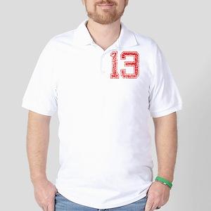13, Red, Vintage Golf Shirt