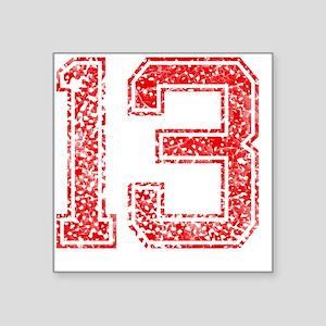 "13, Red, Vintage Square Sticker 3"" x 3"""