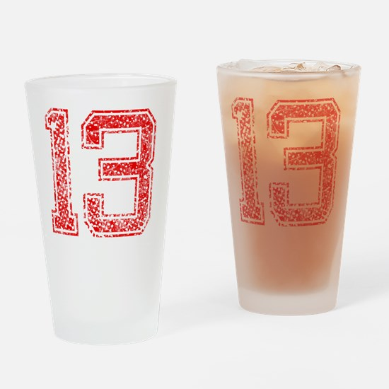 13, Red, Vintage Drinking Glass
