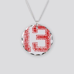 13, Red, Vintage Necklace Circle Charm