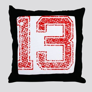 13, Red, Vintage Throw Pillow