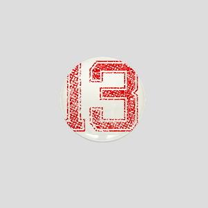 13, Red, Vintage Mini Button