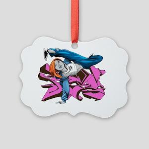 Bgirl purple graffiti Picture Ornament